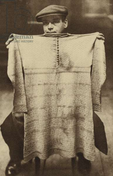 The blood-soaked vest worn by King Charles I at his execution on display at the London Museum in Lancaster House (b/w photo)