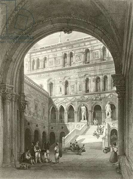 The giants stairs, Ducal Palace, Venice (engraving)