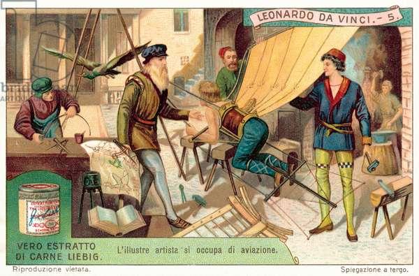 Leonardo da Vinci working on aviation designs (chromolitho)