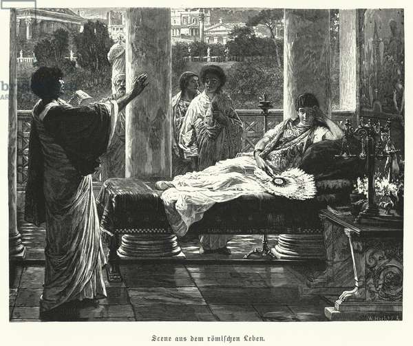 Scene from life in ancient Rome (engraving)