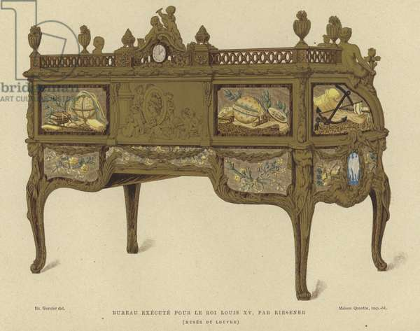 Desk made for King Louis XV of France by Jean Henri Riesener, 18th Century (colour litho)