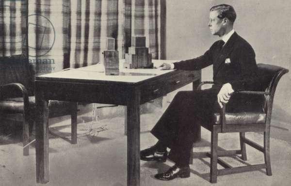King Edward VIII making his first radio broadcast as King (b/w photo)