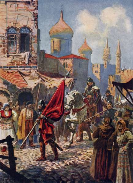 The return of Ivan the Terrible to Moscow after the conquest of Kazan (colour litho)