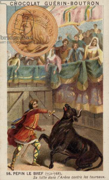 Pepin the Short fighting a bull in the arena (chromolitho)
