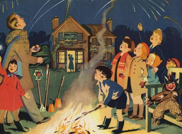 Bonfire night (colour litho)