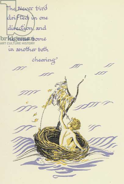 Peter Pan and Wendy: The Never bird drifted in one direction, and he was borne in another both cheering (colour litho)