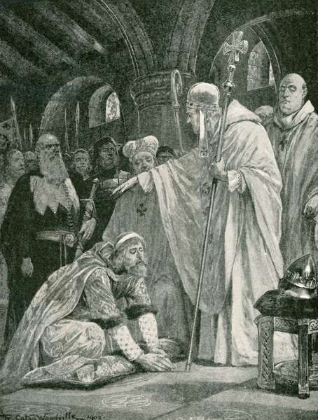 The prostration of Harold, son of Godwin (litho)