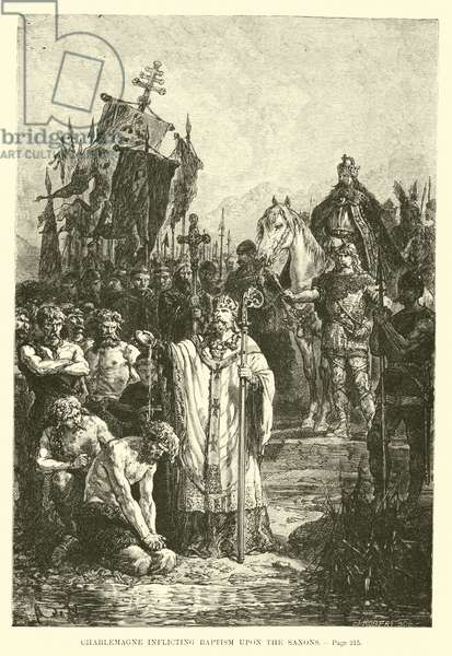 Charlemagne inflicting Baptism upon the Saxons (engraving)