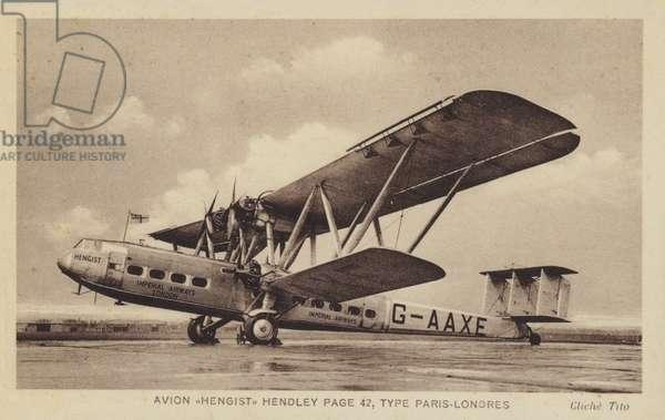 Avion Hengist Hendley Page 42, Type Paris-Londres (b/w photo)