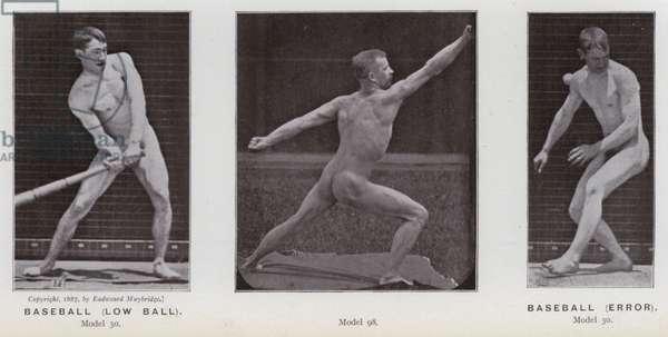 The Human Figure in Motion: Baseball, low ball; Baseball, error (b/w photo)
