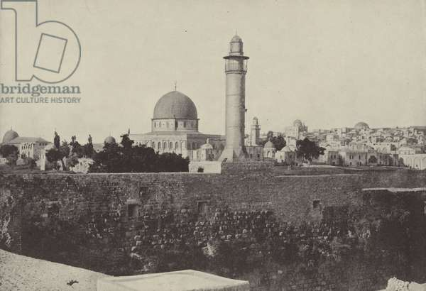 Mosque of Omar and Jewish Quarter, where Christ drove the money changers from the temple (b/w photo)