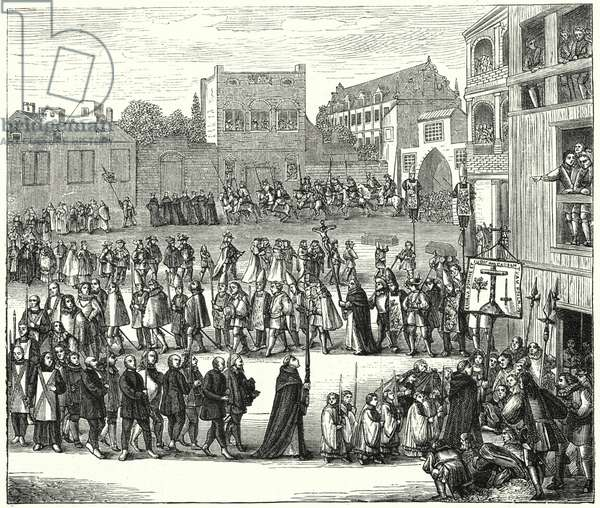 Procession to an auto-da-fe, 16th Century (engraving)