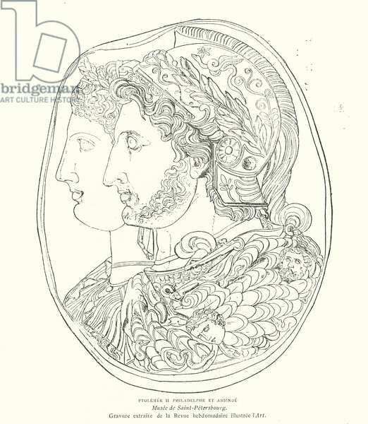 Cameo of Ancient Egyptian Pharaoh Ptolemy Philadelphus and his wife Arsinoe, 3rd Century BC (engraving)