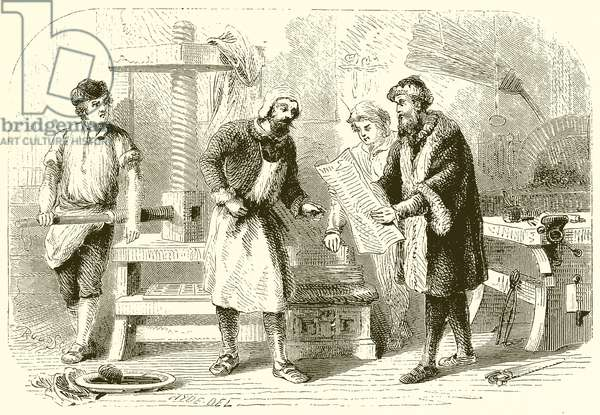 Printing the First Sheet of the Bible (engraving)