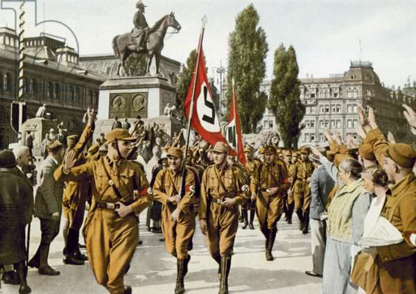 Horst Wessel leading his unit of SA stormtroopers at the Nazi Party's annual Nuremberg Rally, 1929 (colour photo)