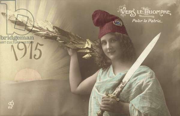 1915, Vers Le Triomphe, Pour La Patrie (colour photo)