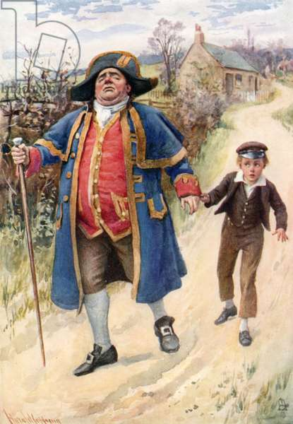 Mr. Bumble and Oliver Twist (colour litho)