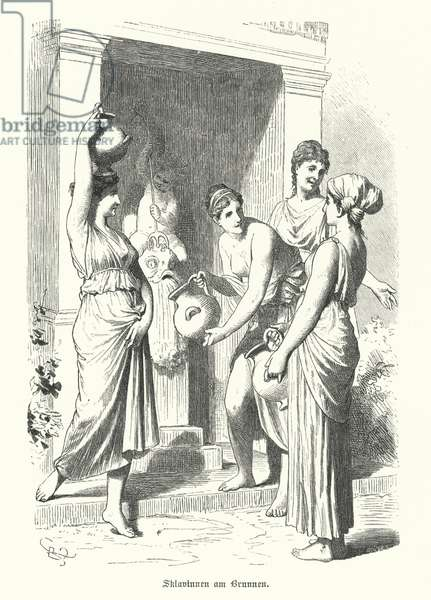 Women slaves collecting water from a fountain in Ancient Greece (engraving)