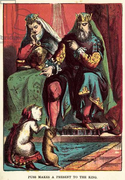 Puss makes a present to The King (coloured engraving)