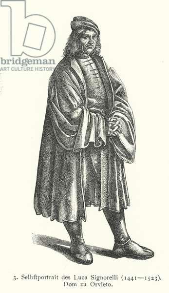 Self-portrait of Italian Renaissance artist Luca Signorelli (engraving)