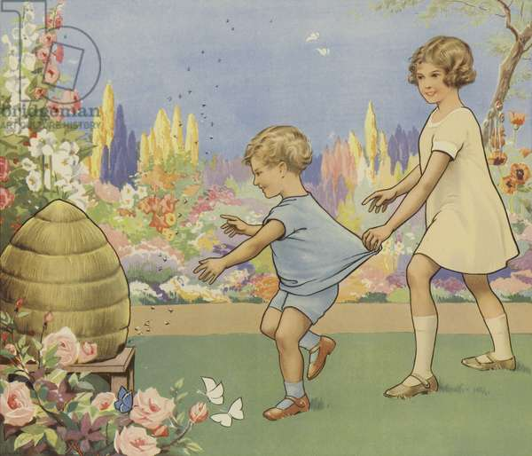 Beehive in a garden (colour litho)