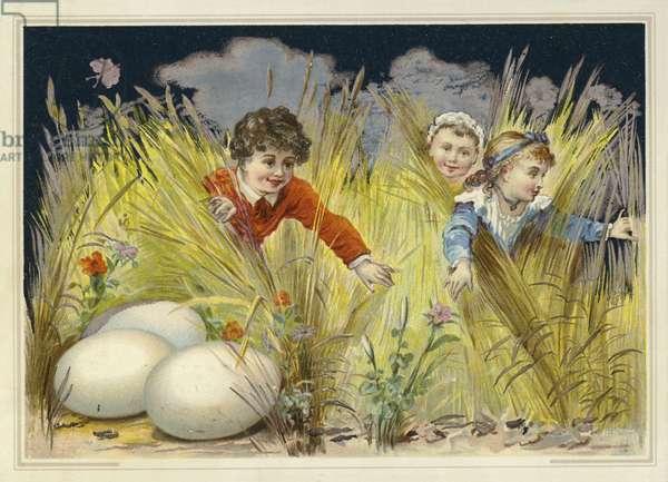 Children looking for enormous Easter eggs (chromolitho)