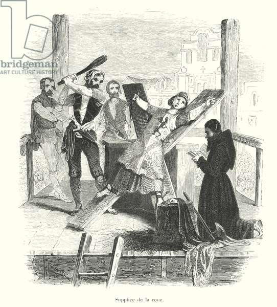 Convicted heretic being broken on a saltire under the Inquisition (engraving)