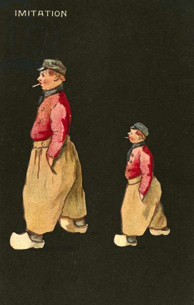 Imitation: Dutch man and boy wearing clogs (chromolitho)