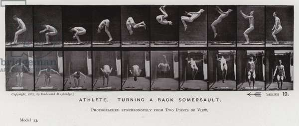 The Human Figure in Motion: Athlete, turning a back somersault (b/w photo)