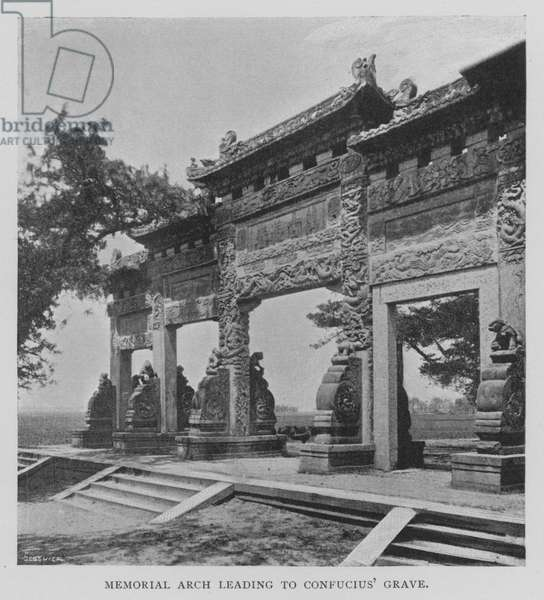 Memorial Arch leading to Confucius' Grave (b/w photo)