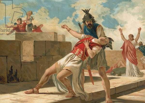 Zimeth killed by an arrow on the walls of Tchittora