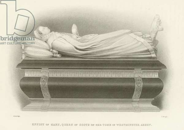 Effigy, Mary Queen Of Scots, Westminster Abbey, London (engraving)
