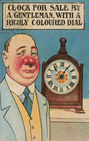 Alcoholism: a man with a red nose selling a clock (chromolitho)