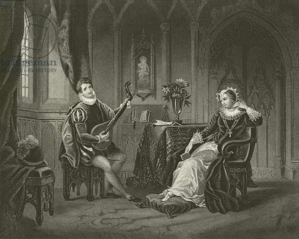 Mary Queen of Scots and her Secretary Chatelar (engraving)