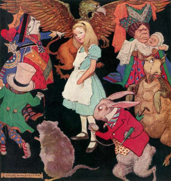 Alice in Wonderland (colour litho)