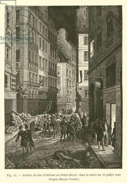 Arrivee du duc d'Orleans au Palais-Royal, dans la soiree du 29 juillet 1830, d'apres Horace Vernet (engraving)