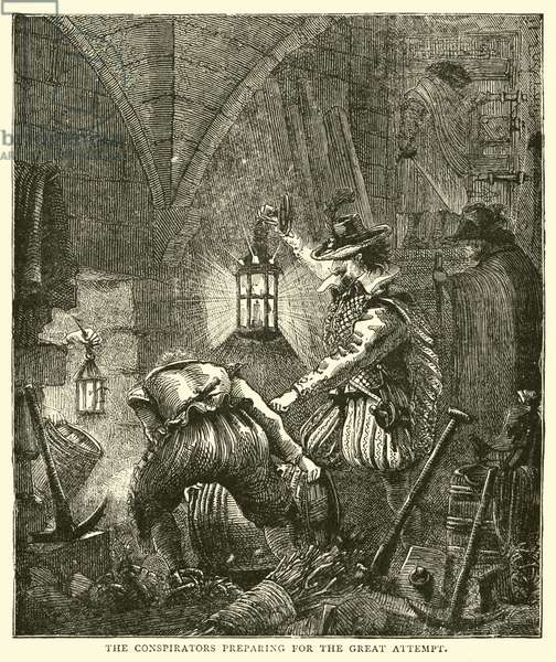 The conspirators preparing for the great attempt (engraving)