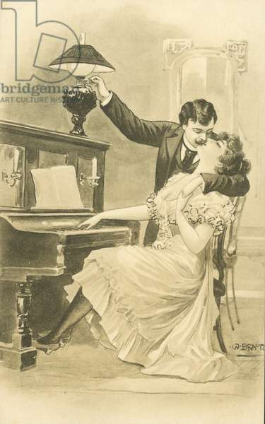 Couple kissing at a piano (litho)