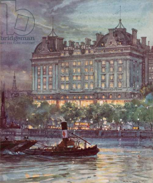 The Hotel Cecil, Victoria Embankment (colour litho)