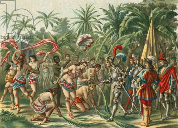 Reception from Anacaona, called the Golden Flower, on Hispaniola for Bartholomew Columbus and Hermano del Almirante