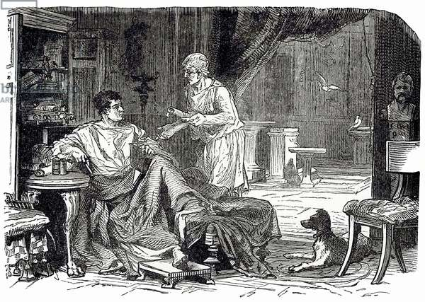 Roman study, illustration from 'Cassell's Illustrated Universal History' by Edward Ollier, published 1890 (digitally enhanced image)