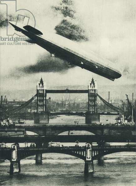 German airship Graf Zeppelin over London (b/w photo)