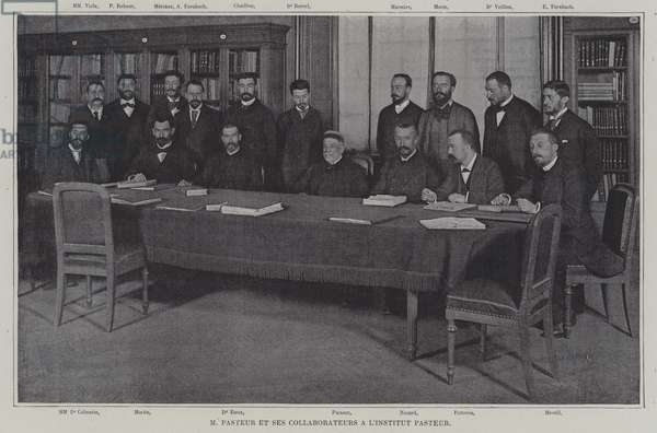 Louis Pasteur and his collaborators in working on a vaccine for croup at the Institut Pasteur in Paris (b/w photo)