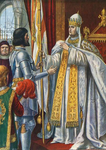 Alberico da Barbiano receives a flag from Pope Urban VI saying 'Italy liberated from the Barbarians', 1379