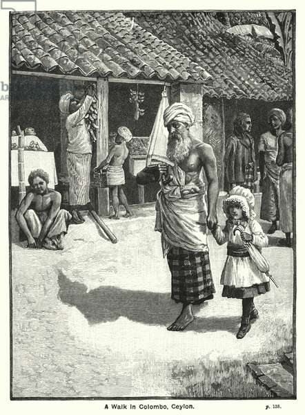 A Walk in Colombo, Ceylon (engraving)