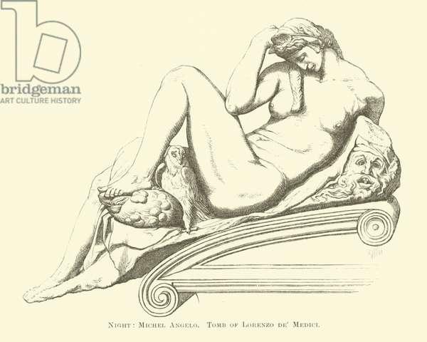 Night, Michel Angelo, Tomb of Lorenzo de' Medici (engraving)