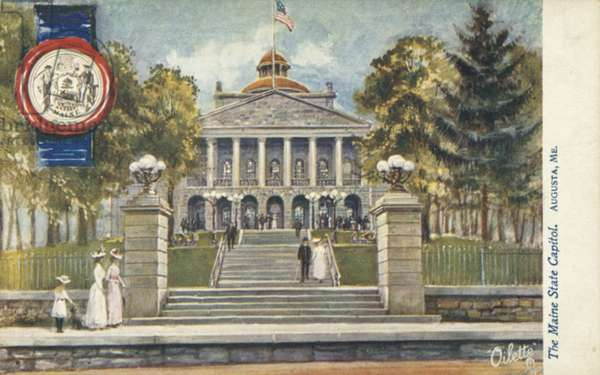 The Maine State Capitol, Augusta, Maine (colour litho)