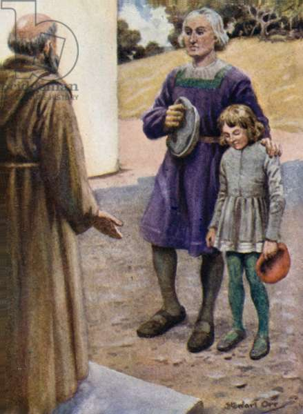 Columbus and his son Diego at the Gate of the Convent (colour litho)