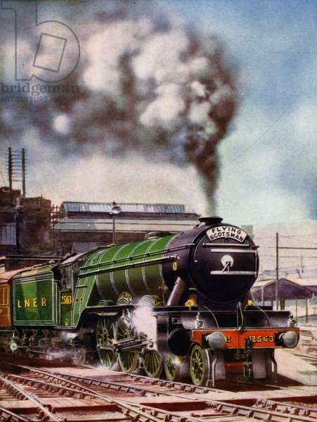 London and North Eastern Railway 4-6-2 Pacific steam locomotive William Whitelaw hauling the Flying Scotsman passenger express train leaving London's King's Cross Station bound for the north (colour litho)