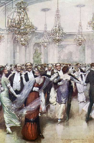A Ball at the Savoy Hotel (colour litho)